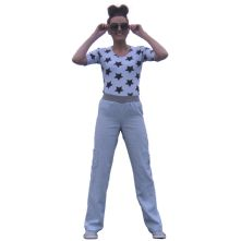 Linen, drop waist trousers with pockets